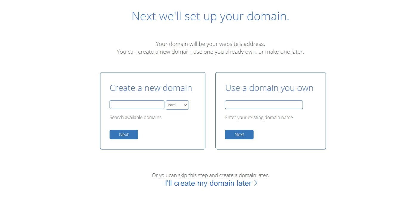 Bluehost create domain name