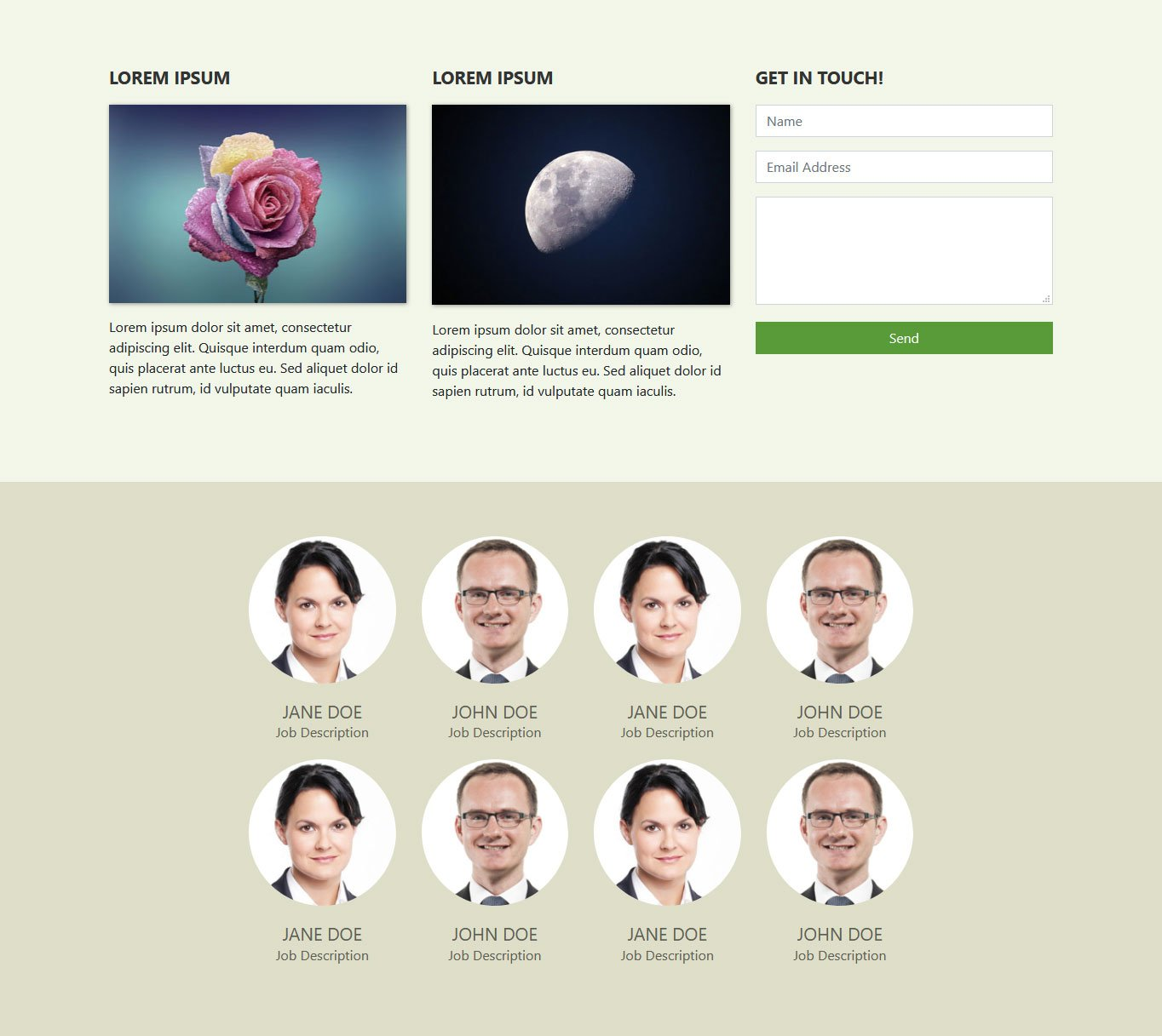 bootstrap tutorial team section with cards