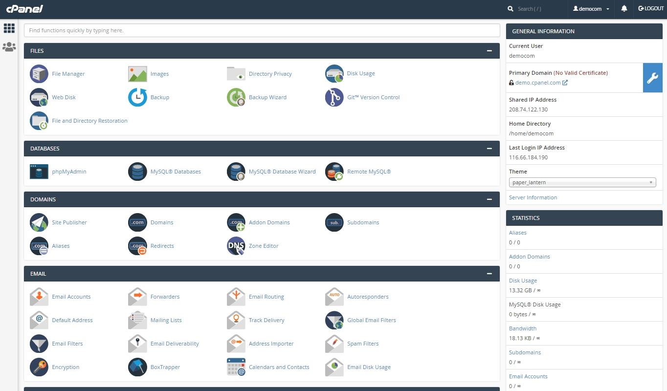 cPanel vs Plesk: cPanel dashboard