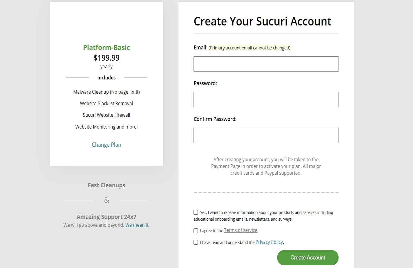Signing up for Sucuri account