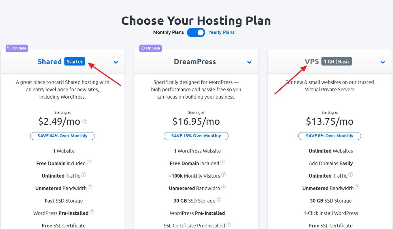choose your hosting plan