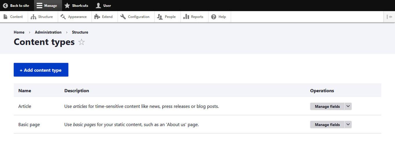 drupal content types menu