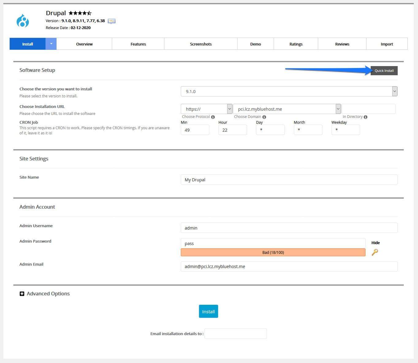 drupal custom installation settings in bluehost