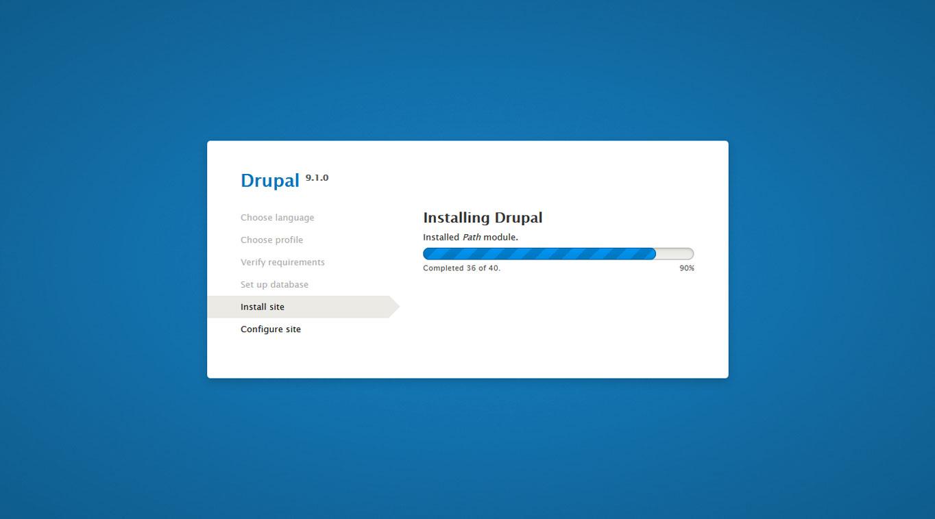 drupal installation running