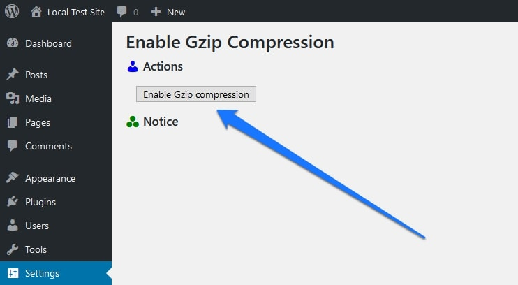 enable gzip compression wordpress plugin settings