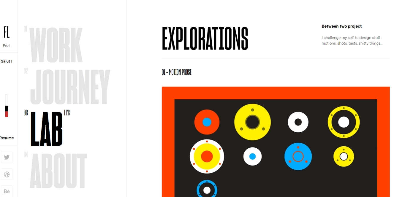 Félix Lesouef uses an asymmetrical layout to highlight his sites navigation.