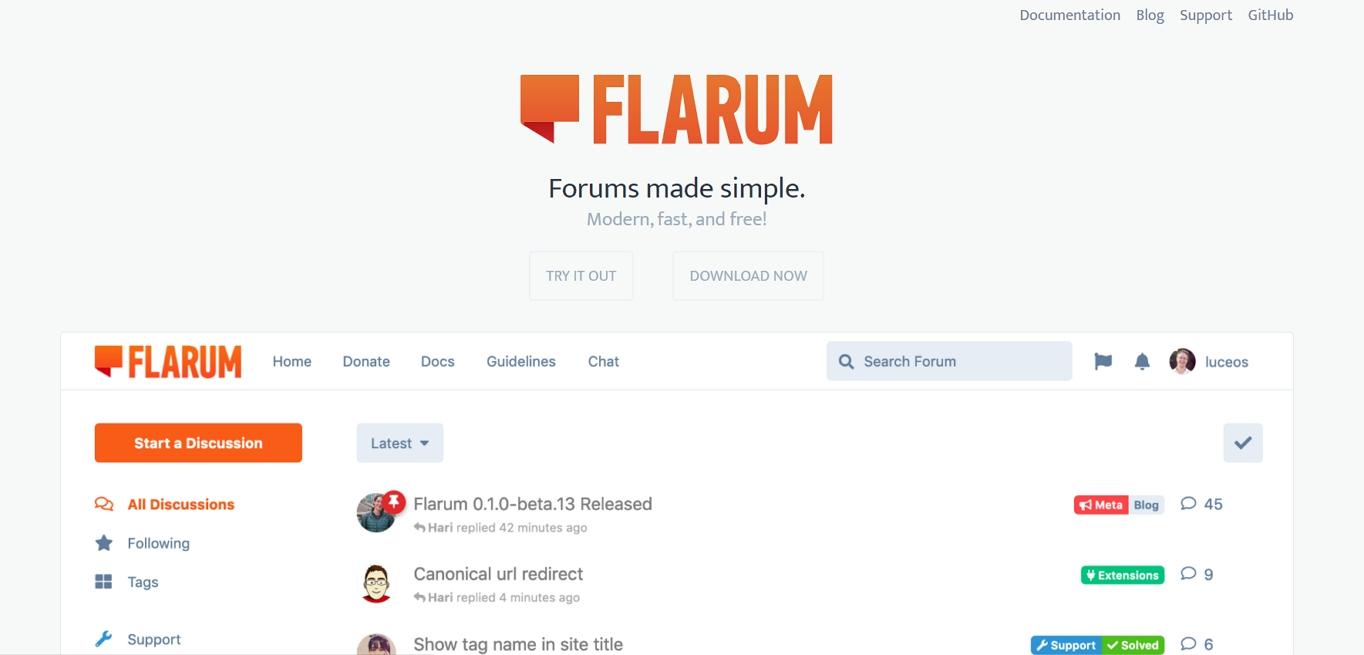 The Flarum website. It's a newer, free forum software.