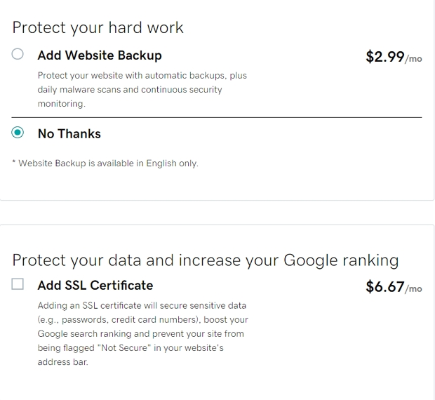 godaddy charges extra fee for SSL security