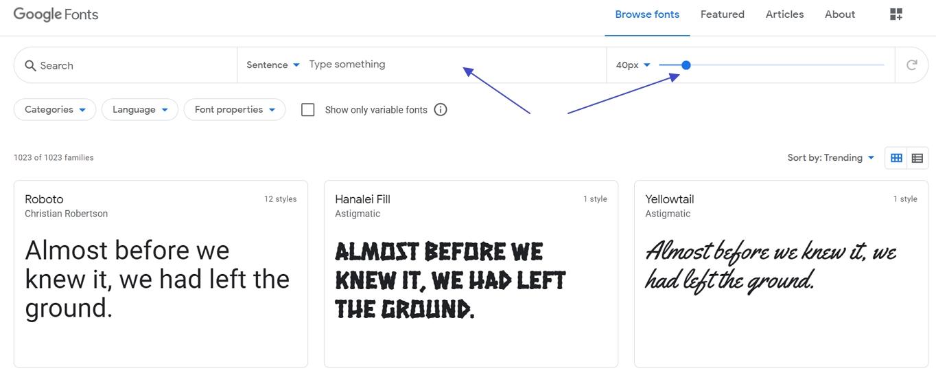 在谷歌字体中自定义字体预览
