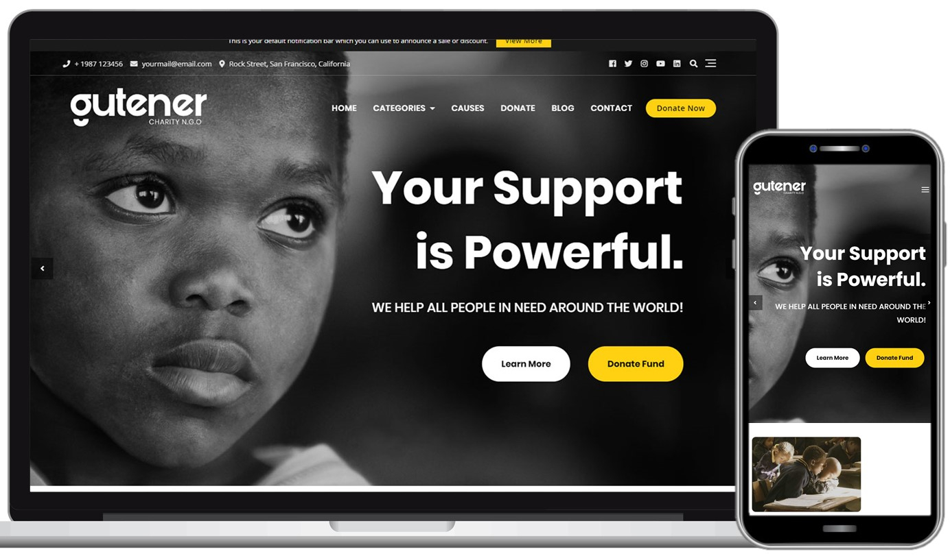 Gutener Charity NGO Free WordPress Theme