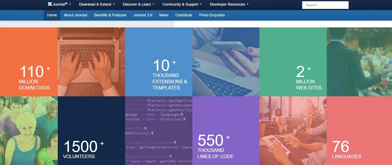Joomla! homepage statistics