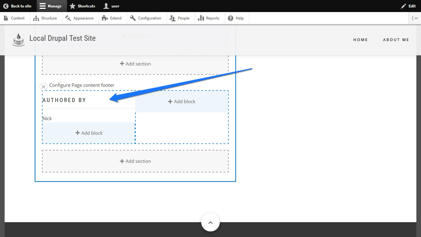 new block on page in drupal layout builder