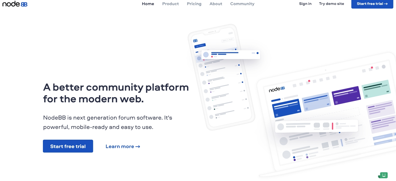 The NodeBB website.