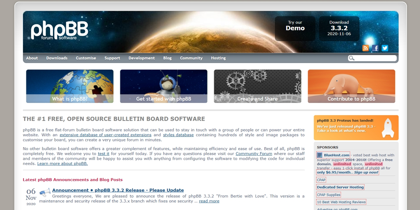 The phpBB forum program's website.