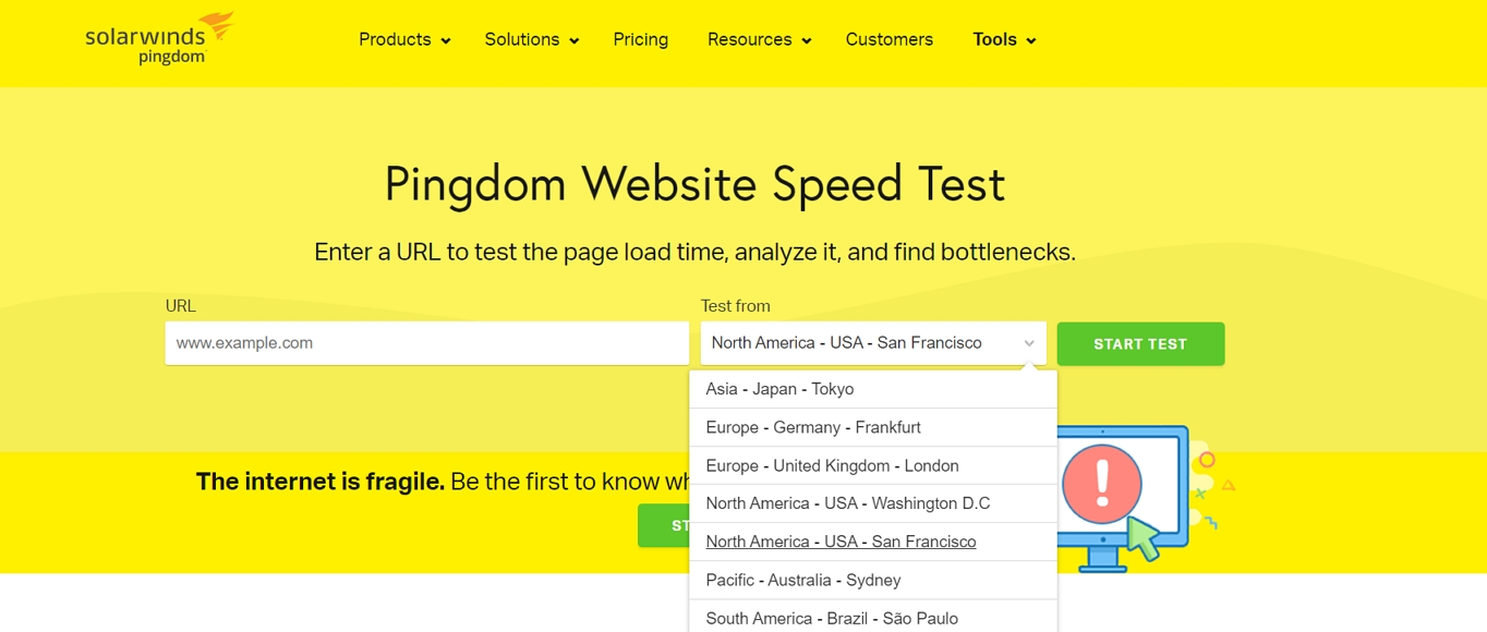 test website speed from different locations