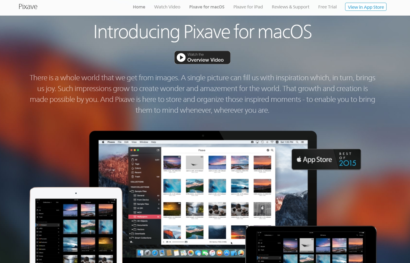 Pixave for MacOS takes the hero layout even further by having it dominate its homepage design.