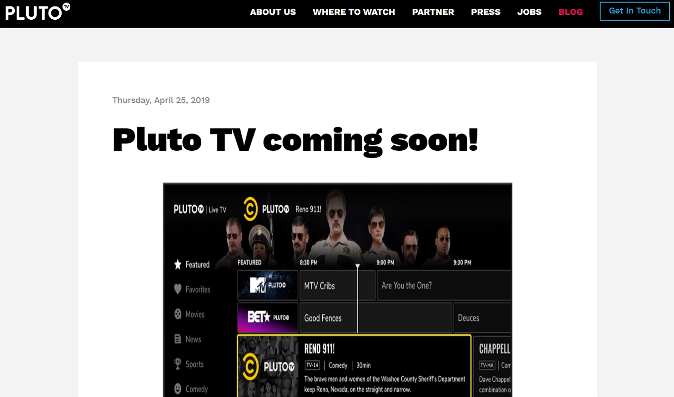An example entertainment site: Pluto TV.