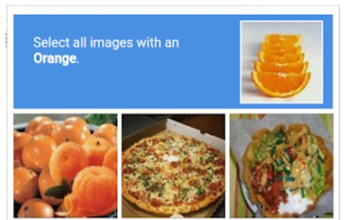 Partial screenshot of a captcha demanding the user click all squares that show oranges