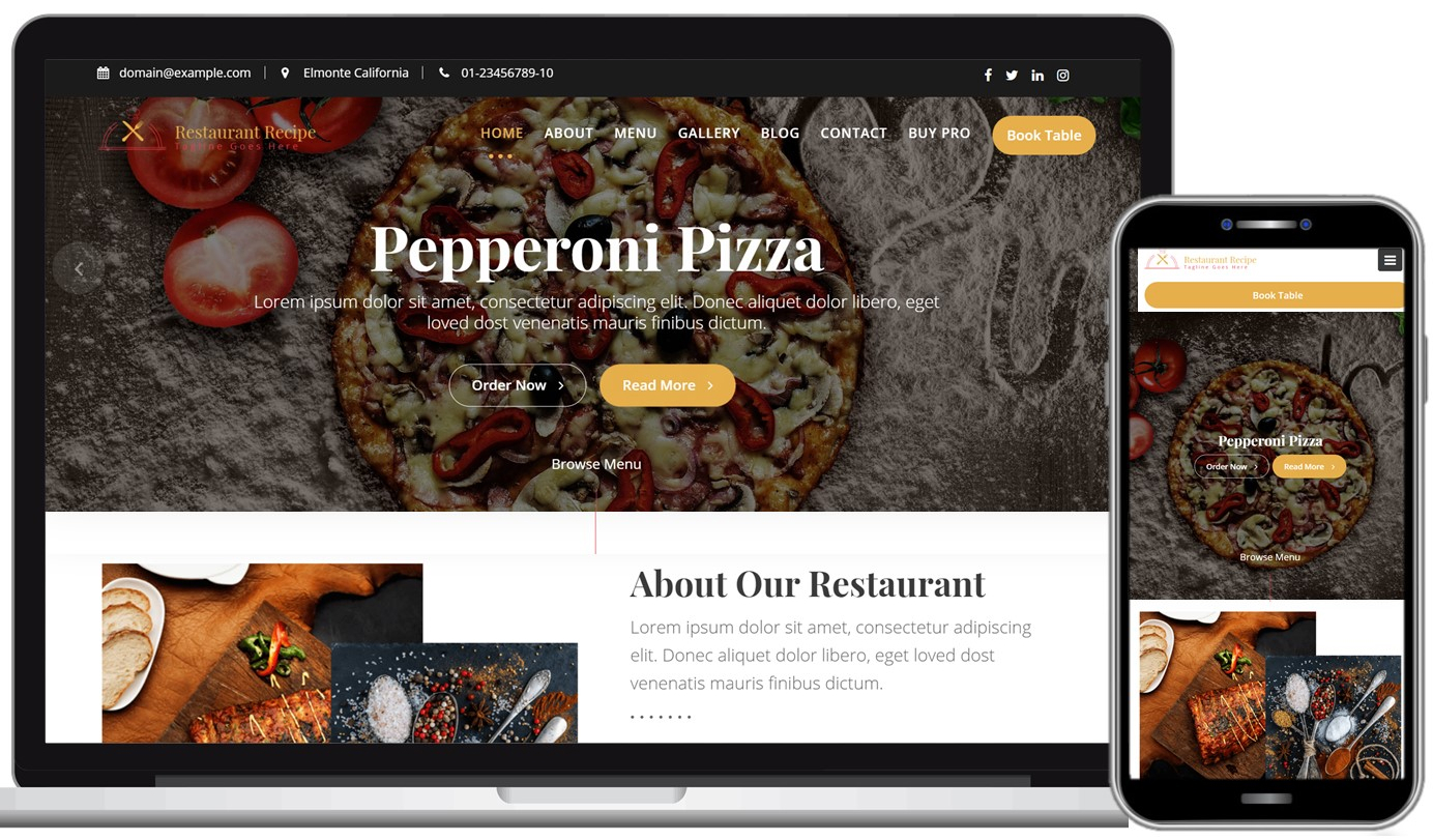 Restaurant Recipe Free WordPress Theme