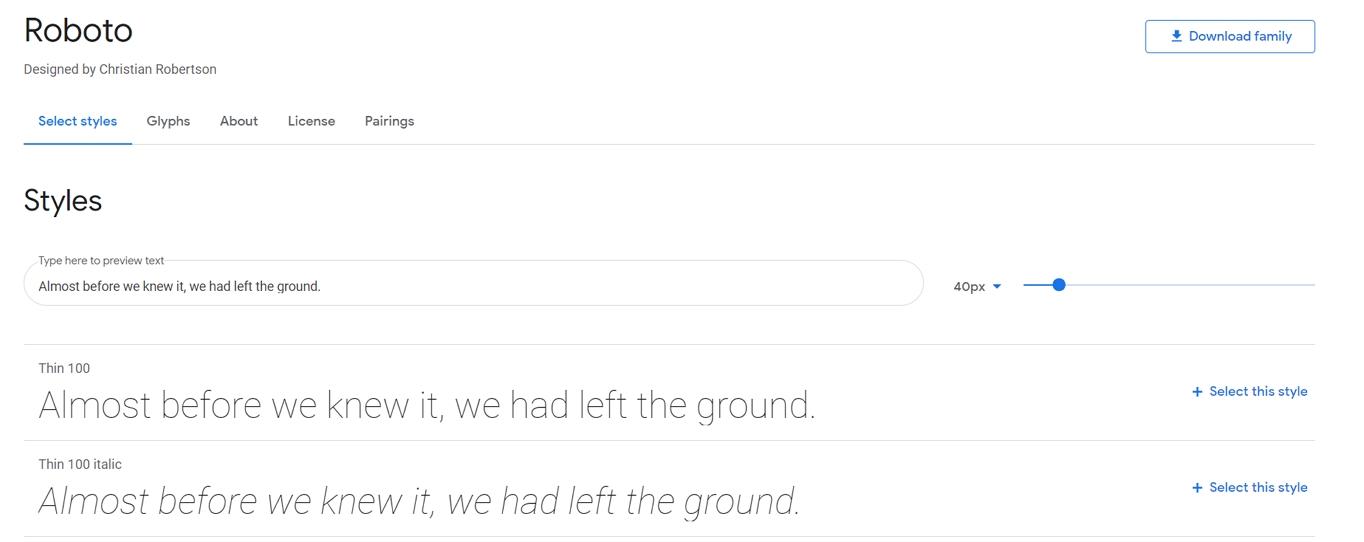 谷歌字体字体详细信息页面