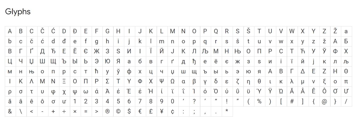 谷歌字体可用字形