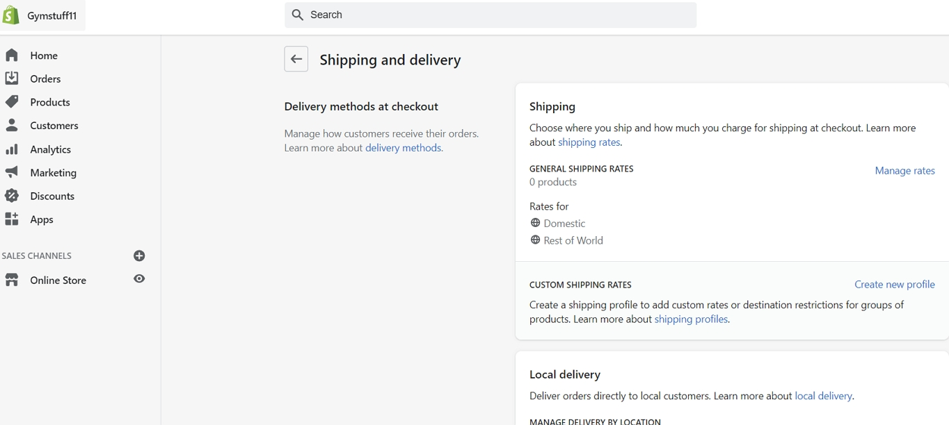 shopify shipping and delivery