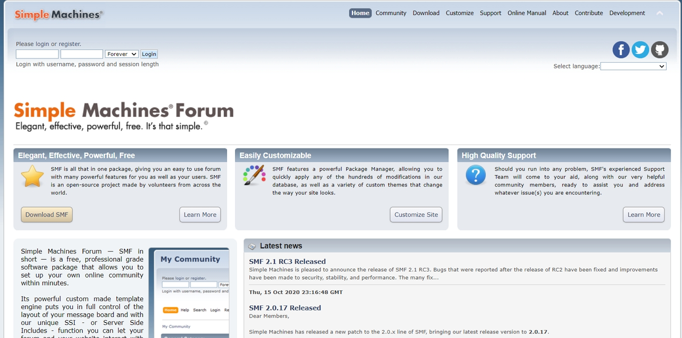 The SImple Machines Forum website: The forum software best suited for those on a budget.