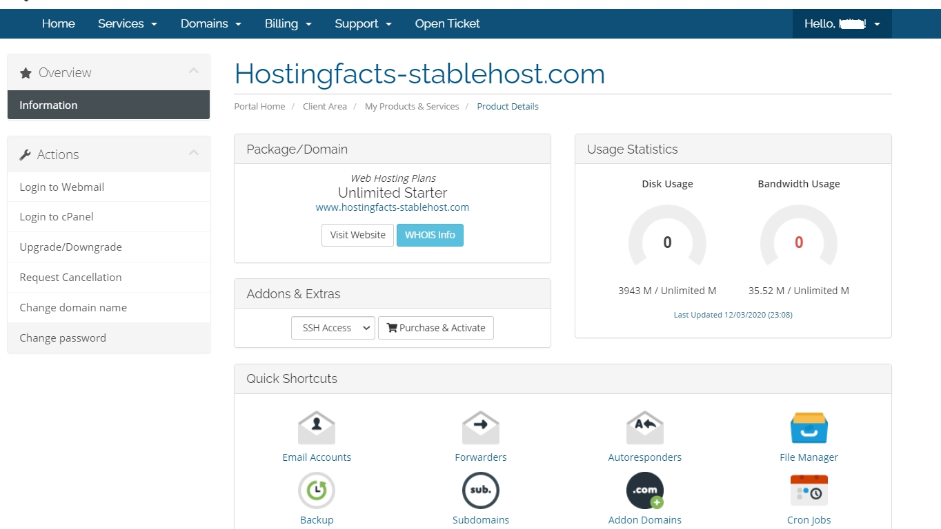 StableHost dashboard