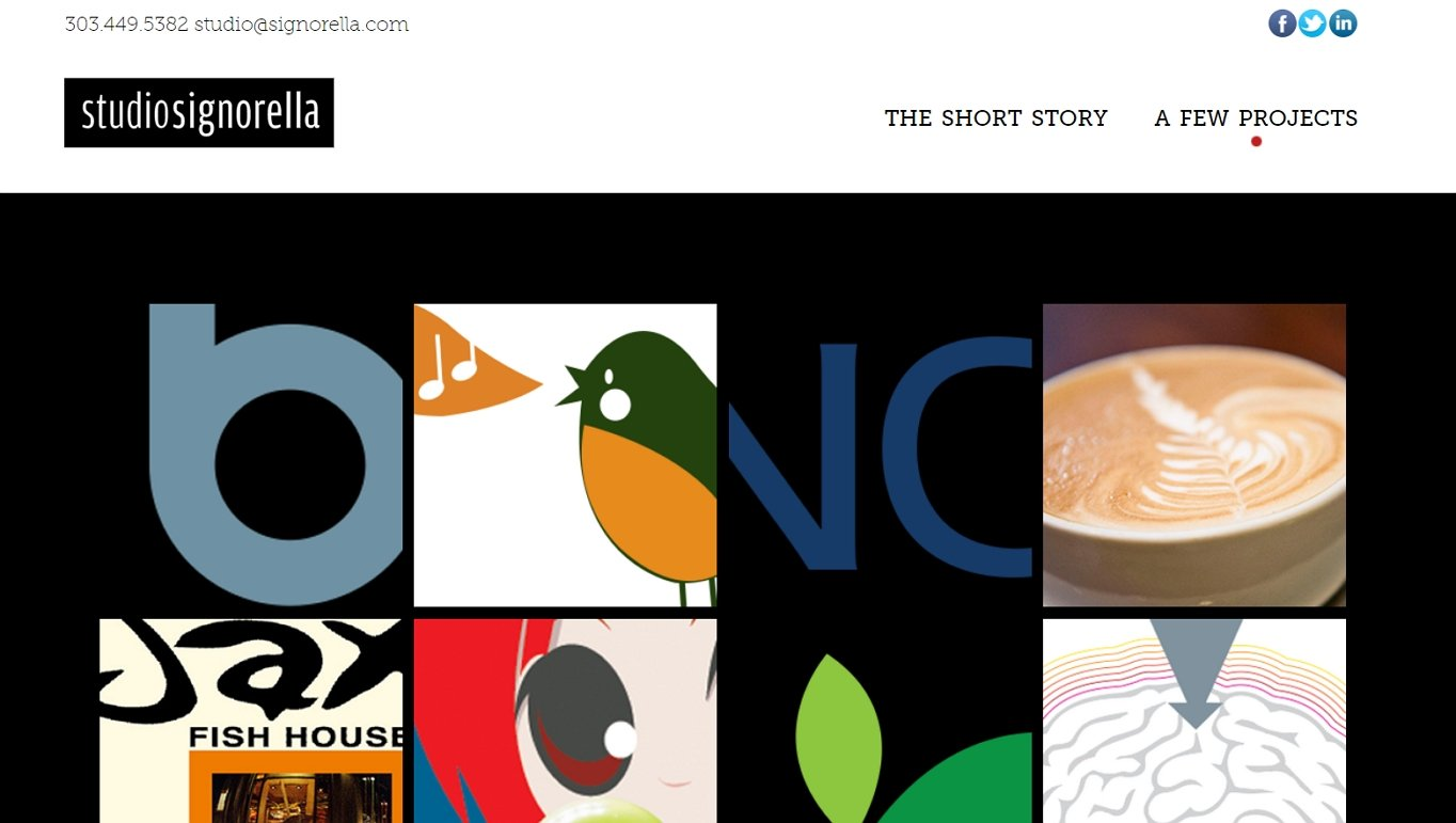 What are the websites that help you land clients? Portfolio websites. This example site is of Studio Signorella.