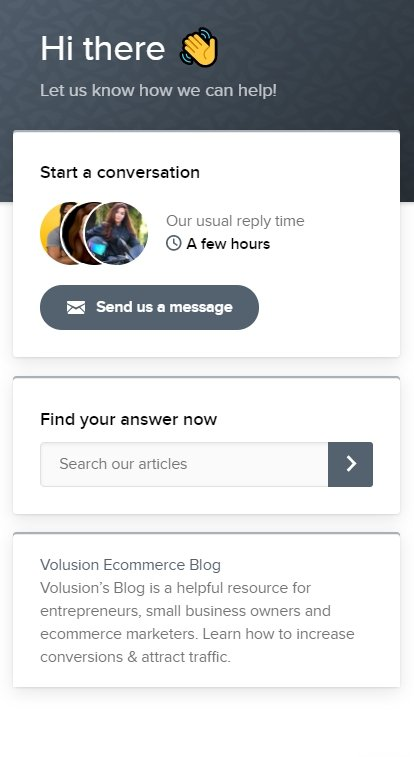 Volusion live chat support example