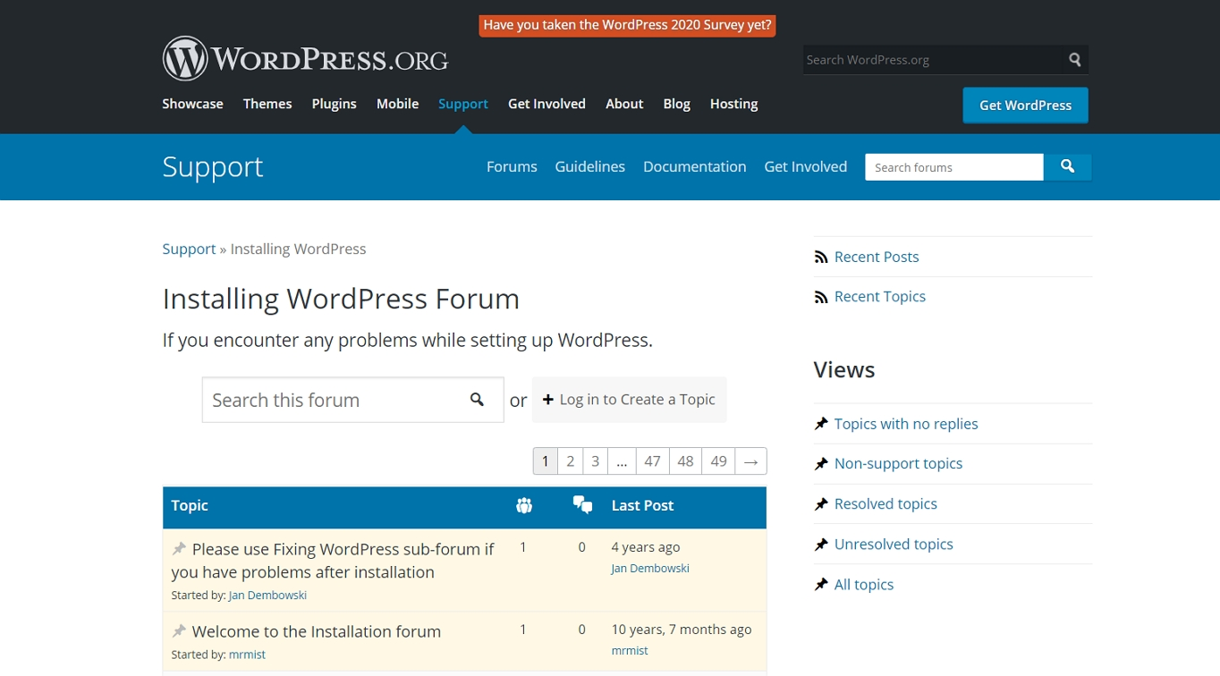 The WordPress.org support forum.