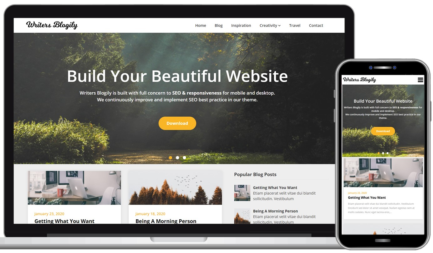 Writers Blogily Free WordPress Theme