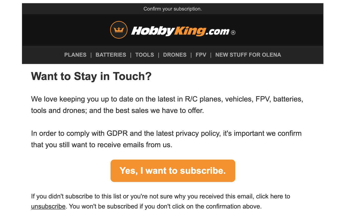 HobbyKing.com follows-up new customers who didn't sign up for their newsletter