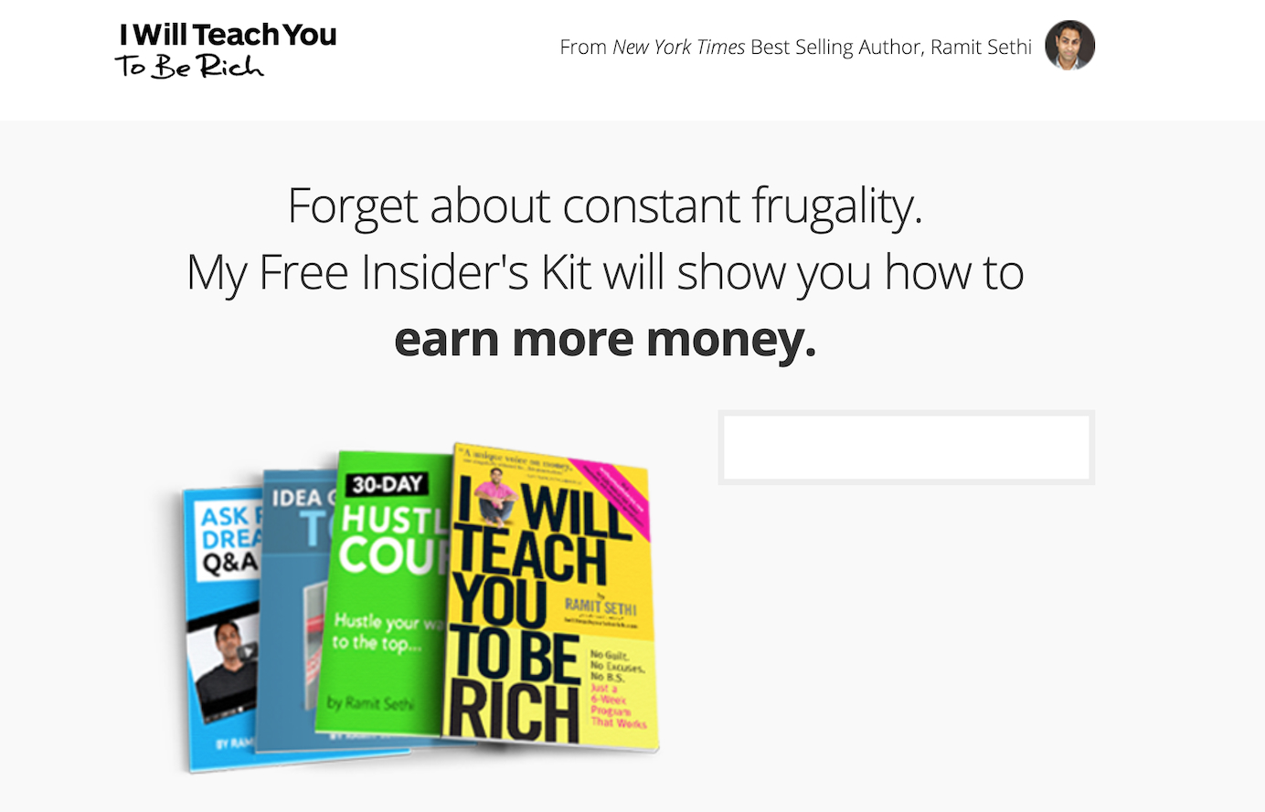Ramit Sethi of I Teach You to Be Rich encourages sign-ups with an Insider Kit