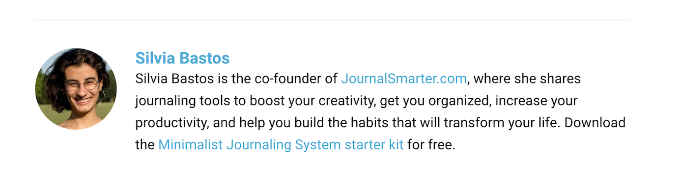 Silvia Bastos links up to a journaling system starter kit as a subscription insensitive from a guest blog about journaling prompts