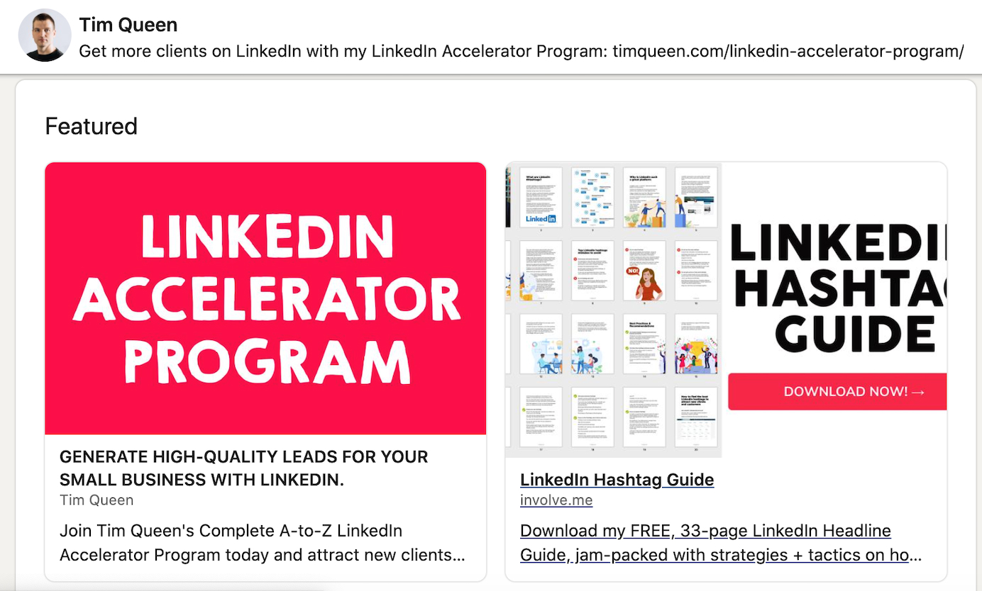 Tim Queen linked up a LinkedIn Hashtag Guide as a freebie for subscribing to his newsletter