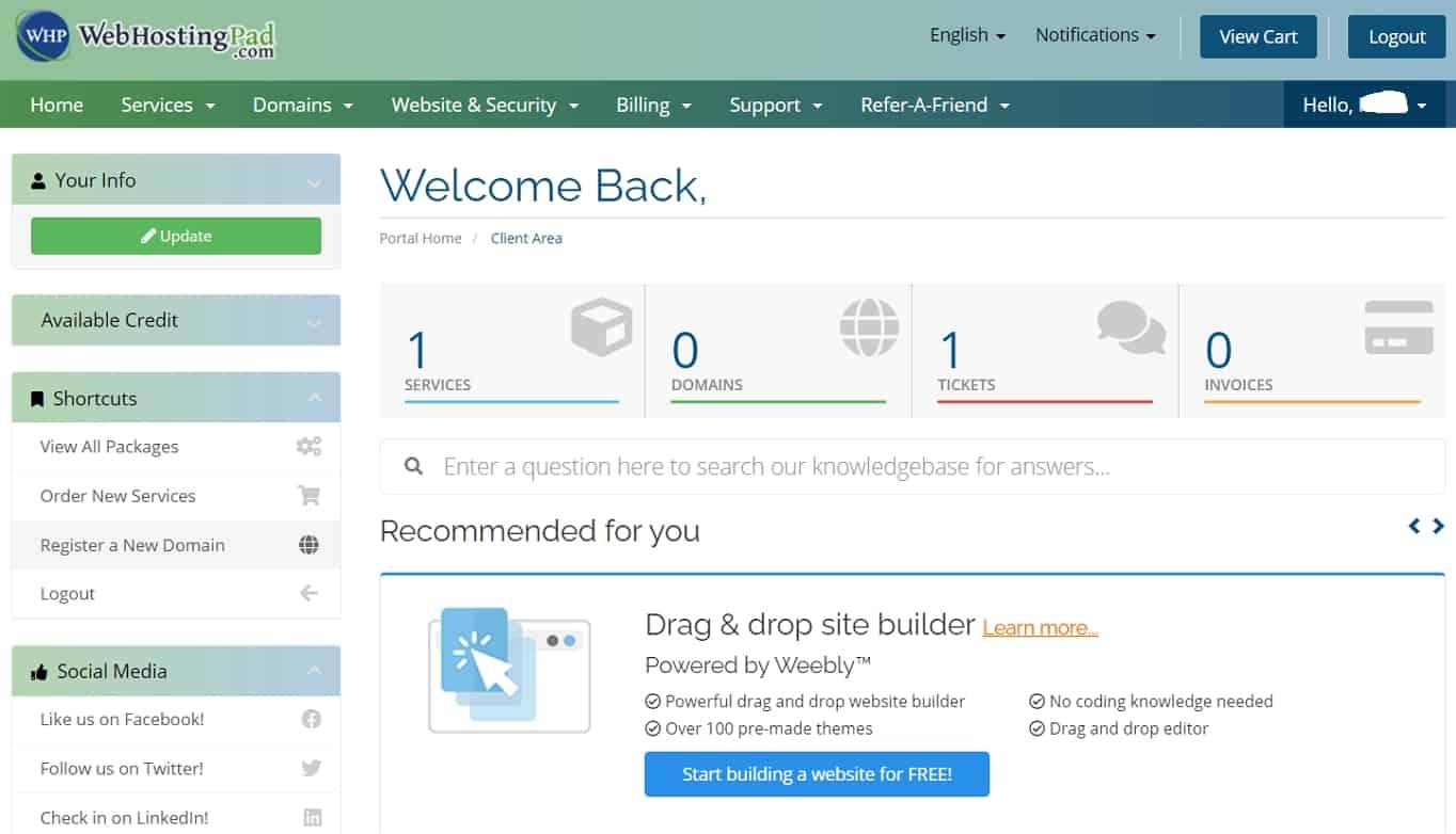 WebHostingPad dashboard
