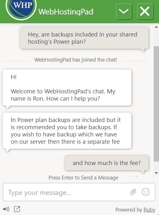 WebHostingPad live chat