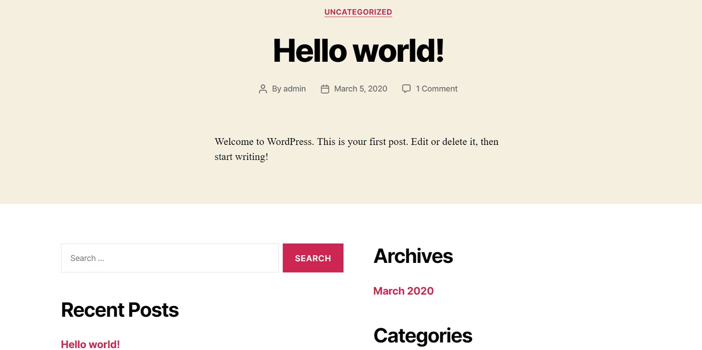 How to create a website: Fresh WordPress Install