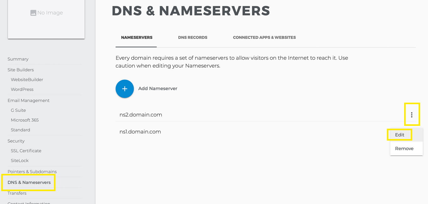 "The ""DNS & Nameservers"" page."