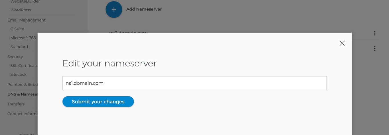 A pop-up overlay where you can enter a new nameserver.