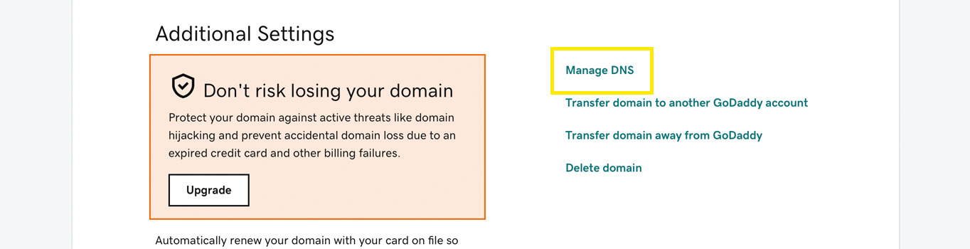 The Domain Settings page.