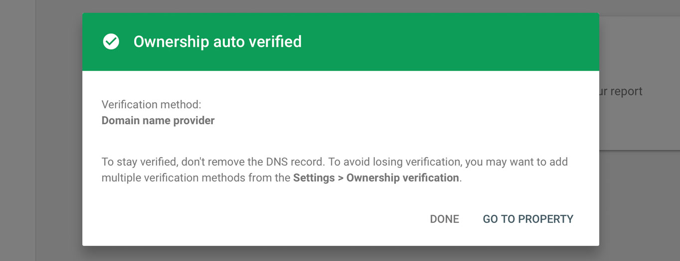 "The ""Ownership auto verified"" message in Google Console."