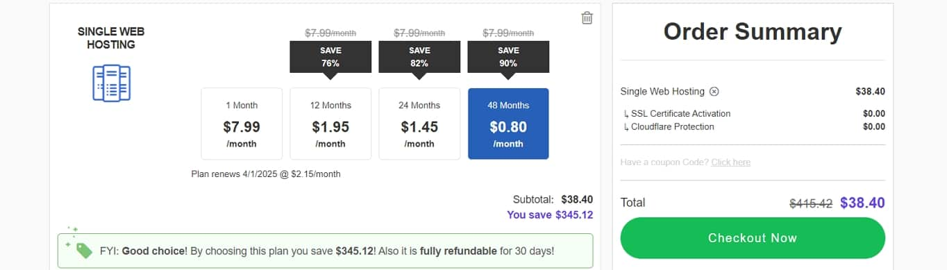 Hosting24 pricing example