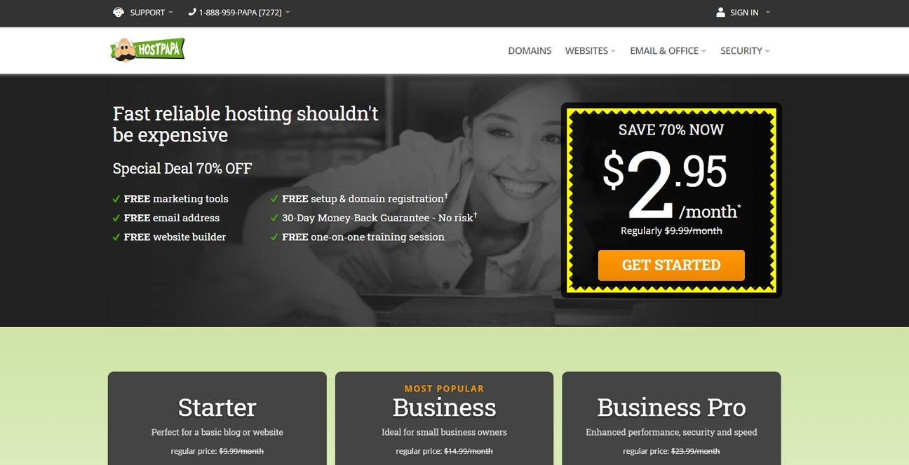hostpapa homepage