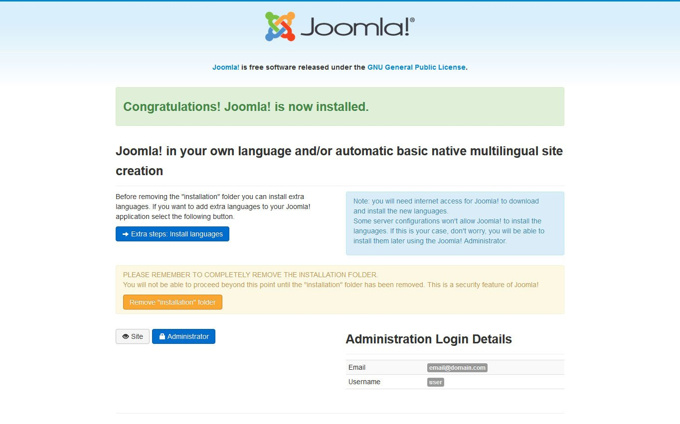 joomla manual installation step finalize