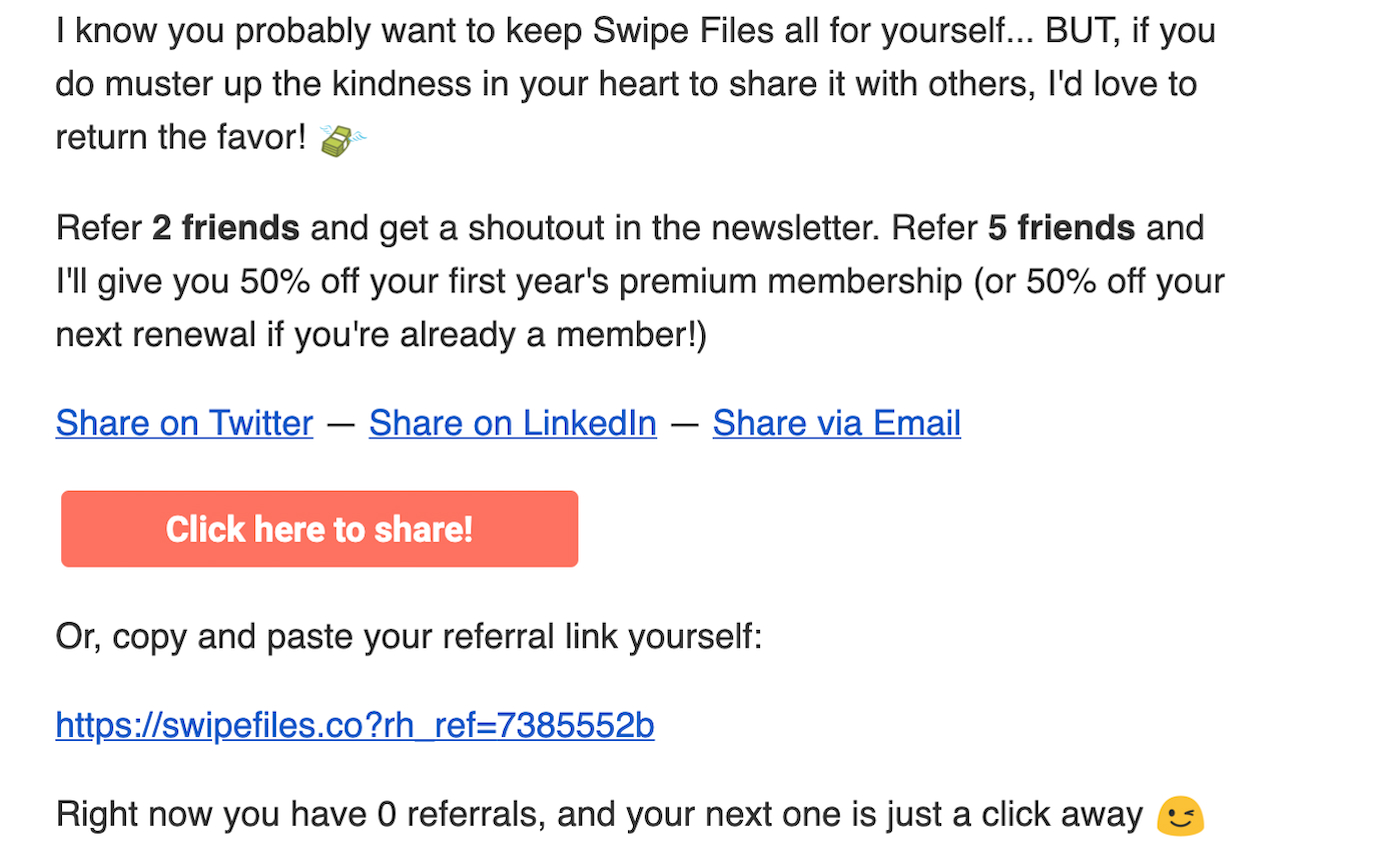Corey Haines encourages newsletter referrals with 50% off to the premium membership on his website