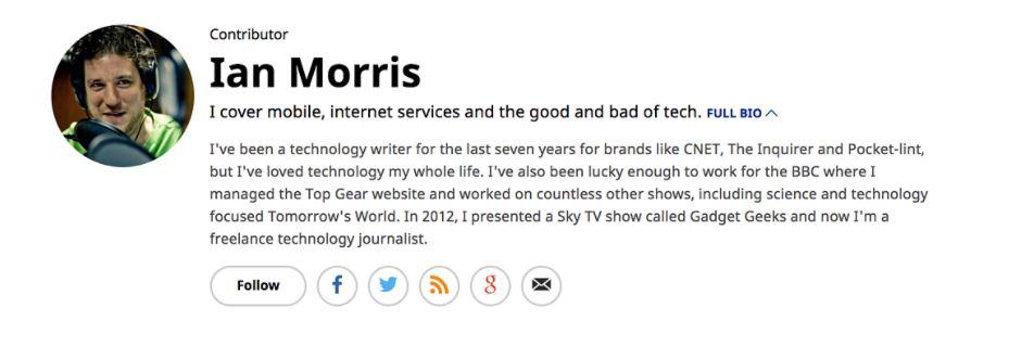 Forbes contributor Ian Morris' bio example