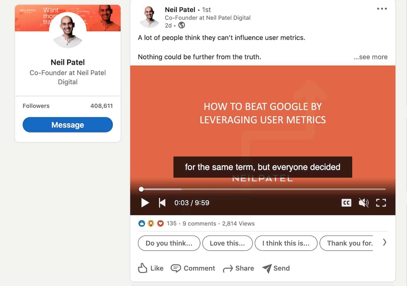 Neil Patel activity on LinkedIn
