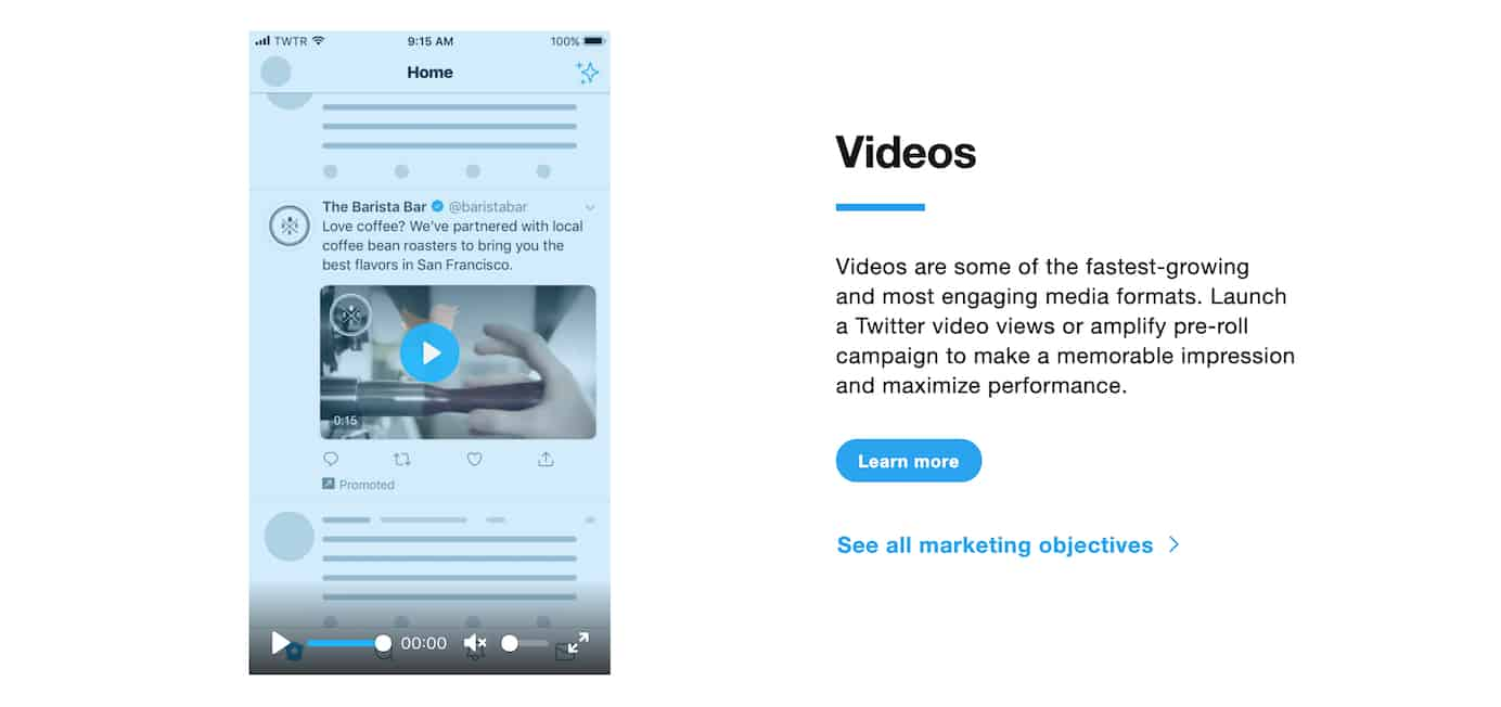 Twitter video ad example